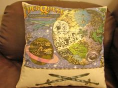 The pillow was made from two of the limited edition cloth maps of Norrath released with the EverQuest Gold Edition.    Link:  EverQuest Gold Edition Pillow