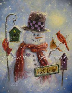 Bird Lover Art Print snowman paintings by VickieWadeFineArt