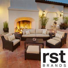RST Slate 8-piece Sofa, Club Chair and Ottoman Patio Furniture Set Outdoor model OP-PESS7-SLT-K