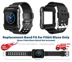 FITBIT Fitness Watch BLAZE Wristband Replacement BLACK ARMOR Large Band Strap  #Simpeak