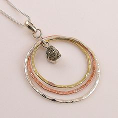 Golden Pyrite Drusy Two Tone Sterling Silver Pendant - keja Jewelry