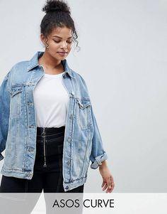ac6a516ec54 ASOS DESIGN Curve denim girlfriend jacket in lightwash blue Curvy Fashion
