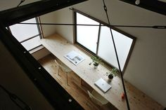 overlook from mezzanine  + industrial wood surfaces