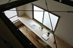 overlook from mezzanine  + industrial wood surfaces