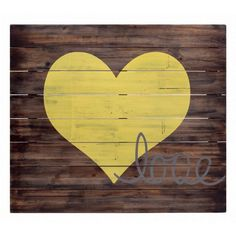 "Yellow and Wood Love Wood Sign This Rustic sign / wall plaque measuring 60 x 50 x 5 cm. Made from MDF panels with a natural wood looking print with Large Yellow heart in the centre. The uniquely crafted Sign has the word ""Love"" beautifully scribed in a light grey paint making this sign complete. [...]"