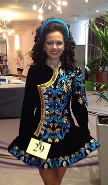it's a cool dress. Irish dance solo costume. Black, blue, gold.
