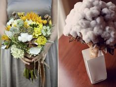 my colors & exact flowers!  raw cotton, succulents, sun flower...
