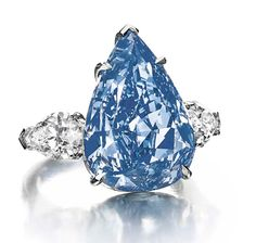 """Harry Winston's """"The Blue"""" diamond, a 13.22ct Fancy vivid blue pear-shaped diamond, is the largest flawless Fancy vivid blue diamond in the world. It was renamed """"The Winston Blue"""" by its owner, Harry Winston."""