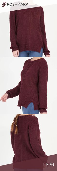"Burgundy Oversized Knit Sweater BNWOT - stretchy oversized knit sweater - notched sides - a center seam on both sides - soft and comfy! // Length: 27"" - 80% Acrylic, 20% Polyester Sweaters"