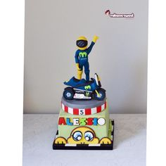 Valentino Rossi cake - Cake by Naike Lanza Valentino Rossi, Motorcycle Birthday Cakes, Motorcycle Cake, Buttercream Filling, Chocolate Buttercream, Vale Rossi, Edible Printing, Chocolate Sponge, Vanilla Sponge