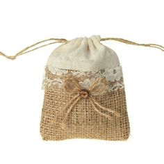 Jute Pouch Bag with Lace Center, 3-inch x 4-inch