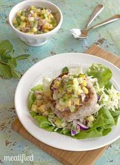 Pork Burgers with Pineapple Salsa {Paleo, AIP & Whole30}
