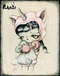 11x14-Unicorn Boxer Girl-Kawaii Vintage Cartoon Inspired-Big Eye Outsider Art-Pinkytoast Art Print