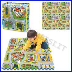 PUZZLE IN EVA CITTA' Puzzle in eva città, per avere un morbido tappeto colorato, per giocare con le tessere del puzzle, per avere il percorso cittadino su cui giocare con le macchinine, un sacco di cose con un unico gioco!!