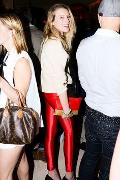 Dree Hemingway in skin-tight red pants.
