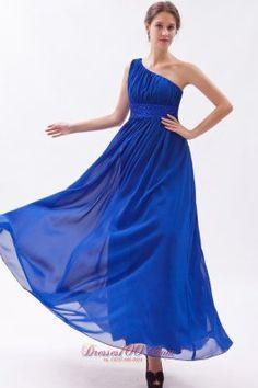 Plus Size Royal Blue Chiffon Beading Prom Dress Empire One Shoulder Floor-length