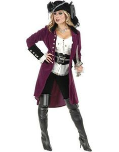These deluxe women's long plumberry maroon and black trim velvet pirate jackets will have the boys lining up to walk the plank this Halloween! Authentically styled with skull buttons and contrasting cuffs, these are an absolutely fabulous finishing touch for pirate themes. Please note that only the jacket is included in this posting. Hat, blouse, boots and other accessories are not included but are available in our store.