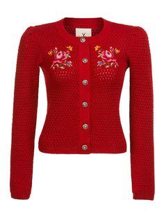 Short Plain Rot Dancing Days Rockabilly Vintage Cardigan Strickjacke