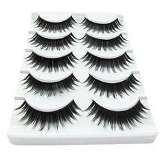 5 Pair Black Fiber eyelash False Eyelashes (5-014)
