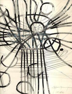 Ignacio Klindworth. #Boceto para serie de lienzos sobre enlaces, nudos y autopistas. Tinta sobre papel.30x30cm.Madrid 2003 www.ignacioklindworth.es