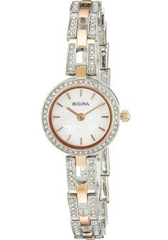 Bulova Women's 98L212 Crystal Dial Rose Gold and Silver Tone Bracelet Watch #Bulova #DressFormal
