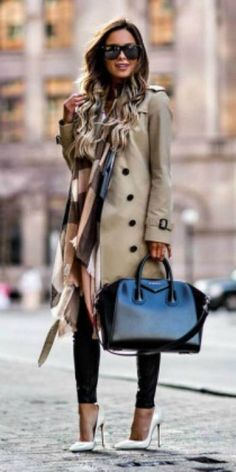 Maria Vizuete + classic beige trench coat + white stilettos + oversized scarf + street-chic look!  Trench: Burberry, Shoes: Christian Louboutin.