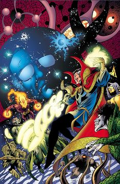 This is the cover to Stan Lee Meets Doctor Strange, drawn by Alan Davis, and without the extraneous title and other unnecessary elements that get in the way of good art.