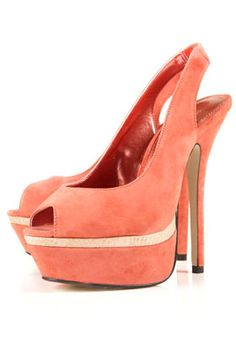 LARNA double platform sandals in Coral - one of the hottest colors this season.