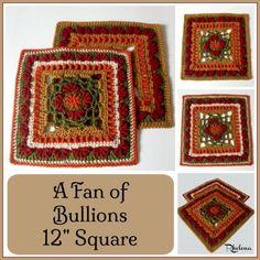 """A Fan of Bullions 12"""" Square ~ FREE Crochet Pattern"""