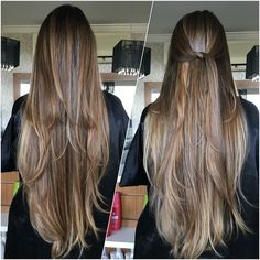 Corte em camadas leves Brown Hair Balayage, Brown Blonde Hair, Brunette Hair, Hair Highlights, Haircuts For Long Hair, Long Hair Cuts, Long Hair Styles, Blonde Hair Looks, V Shape Hair