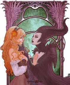 Maleficent and Aurora Fan Art Arte Disney, Disney Fan Art, Disney Love, Disney Magic, Aurora Disney, Maleficent Aurora, Maleficent Movie, World Disney, Princesa Disney