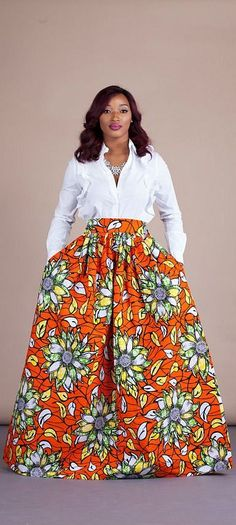 """Fleur Skirt. Relaxed yet sophisticated and, best of all, universally flattering – just look how it nips in the waist – a full, high waisted skirt is an instant game-changer with two side pockets and approximately 2"""" waist band.     Ankara 