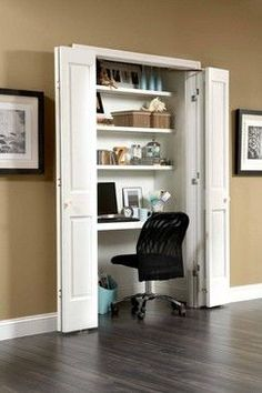 Love the office-in-a-closet idea -- keep the flutter of papers and doo-dads out of view. The hinges on these doors allow full access to the space and are perfect for this concept.
