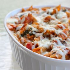 healthy three cheese chicken penne pasta bake