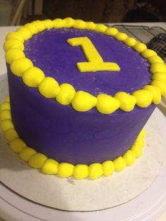 Purple and yellow 1st birthday smash cake