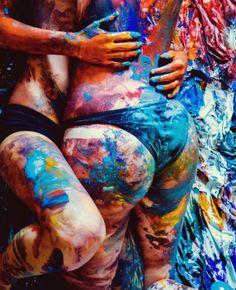 Lesbian body paint