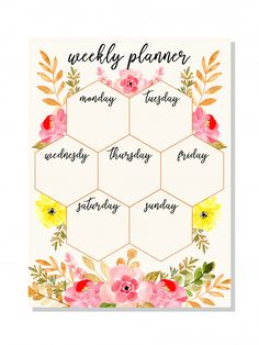 Pink Weekly Planner With Watercolor Floral Weekly Planner Template, Weekly Planner Printable, Printable Calendars, Planner Stickers, Bullet Journal Notebook, Bullet Journal Ideas Pages, Blog Planner, Planner Pages, 2015 Planner