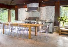 stainless steel backsplash cottage   Silver Glass Mosaic Tile Backsplash   Atticmag   Kitchens, Bathrooms ...