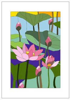 Stained Glass Lotus Mother's Day Birthday by nwpitneyink on Etsy Glass Painting Designs, Wall Art Designs, Paint Designs, Faux Stained Glass, Stained Glass Patterns, Painting Patterns, Fabric Painting, L'art Du Vitrail, Art Floral