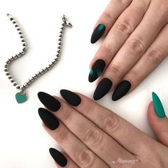 A manicure is a cosmetic elegance therapy for the finger nails and hands. A manicure could deal with just the hands, just the nails, or Matte Black Nails, Gray Nails, Black Almond Nails, Trendy Nail Art, Stylish Nails, Black Nail Designs, Nail Art Designs, Kundenspezifische Designs, Design Ideas