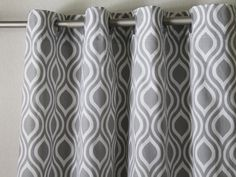 """Pair of 50"""" wide Premier Print Nicole grey and white curtains panels, drapes, curtains 50x63"""" 50x84"""" 50x96"""" 50x108- can add grommets/lining"""