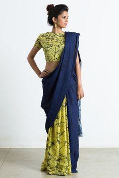 Hand Block Batik Printed Cotton Saree With Blouse Piece - ThealiceOnline Indian Attire, Indian Outfits, Indian Dresses, Indian Wear, Designer Sarees Collection, Saree Collection, Saree Blouse Designs, Blouse Patterns, Saree Jackets
