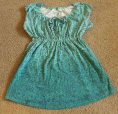 Motherhood maternity light blue green short sleeve summer shirt size small