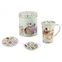 Paul Cardew Cupcakes and Coolies Mug Set. Set includes 1 14oz mug, 1 Coaster, 1 Tea Bag Rest and Tin for Storage.