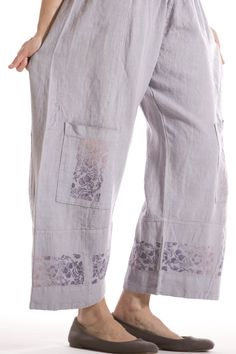 Greenhouse Linen Pant Printed-Blue Fish Clothing
