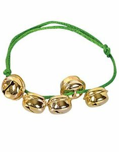 "Christmas Santa Claus Green Gold Jingle Bells Bracelet by Rhode Island Novelty. $0.21. Great accessory for any Child's or Adult Christmas Green Jingle Bells costume. Brand new Fantastic quality Christmas Green Jingle Bells Bracelet. This posting includes: Jingle bell bracelet with green band and metallic golden bells as featured. Please note that only the items listed above are included.. Santa Claus (Saint Nicholas, Father Christmas, Kris Kringle, or simply ""Sa..."
