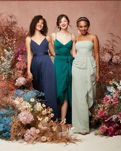 Mix and match to your heart's content! Beautiful shades of blue and green make for the ultimate 2021 bridal party look! | #2021bridesmaiddresses #spaghettistrapbridesmaiddresses | Style F20346 in Marine, F20208 in Gem, F20319 in Dusty Sage | Shop these styles and more at davidsbridal.com Bridesmaid Dresses, Wedding Dresses, Party Looks, Davids Bridal, Green Wedding, Shades Of Blue, Design Trends, Sage, Content
