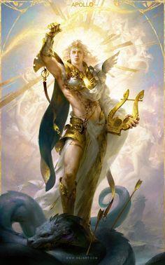 Apollo-阿波罗 ART by Guangjian Huang Artist Dark Fantasy Art, Fantasy Artwork, Fantasy Men, Apollo Mythology, Greek Mythology Art, Fantasy Character Design, Character Art, Male Angels, Roman Gods