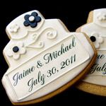 Wedding Ideas - Blue and Brown Cookies Favors