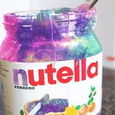 Galaxy slime in nutella jar💖 Cute Food, Yummy Food, Galaxy Slime, Unicorn Foods, Rainbow Food, Cute Desserts, Weird Food, Slime Recipe, Starbucks Drinks